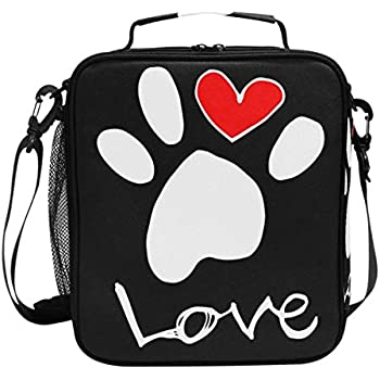 24af755108bb Dog Pattern Lunch Box Dog Footprint Paw Pet Animal Heart Insulated Lunch  Bag Reusable Cooler Meal Prep Bags Lunch Tote with Shoulder Strap for  Office ...