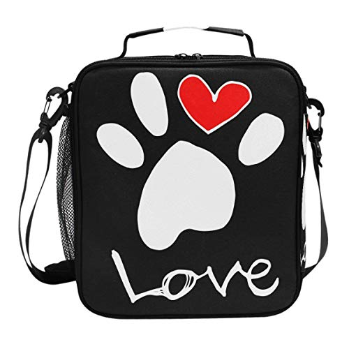 Dog Pattern Lunch Box Dog Footprint Paw Pet Animal Heart Insulated Lunch Bag Reusable Cooler Meal Prep Bags Lunch Tote with Shoulder Strap for Office Adult ()