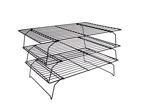 OKUBOX BC03 3-Piece COOLING RACK , Stackable Black Grid ,15.7 inch x 9.8 inch