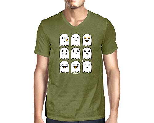 Men's Halloween Ghost Icons V-Neck T-Shirt (Olive, X-Large) -