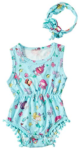 Baby Bodysuit Short Sleeve Outfit 1St Blue Newborn Shirt One Piece Mermaid Rompers Floral Collared Adorable Sea Clothes Set Mini Girls Cuteness Toddler Dress Suits Matching Head Wrap ()