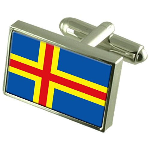 Åland Islands Sterling Silver Flag Cufflinks in Engraved Personalised Box by Select Gifts