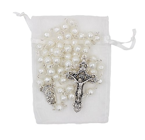 (Bundle: 7mm White Rose Shaped Bead Rosary with Organza Storage Bag)