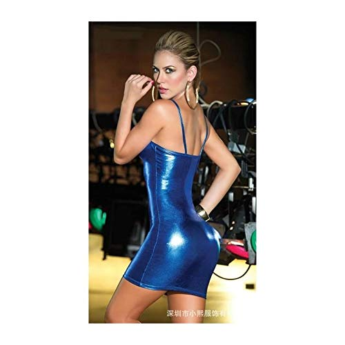 SDCXV Femme Jupe en cuir serr sexy Bleu