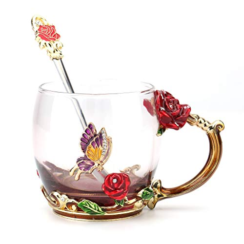 Tebery Clear Glass Tea Cup Coffee Mug Cups with Spoon Handmade Butterfly Rose,11oz -