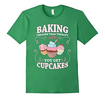 Mens Baking - Cheaper than therapy and you get cupcakes T-shirt 2XL Grass