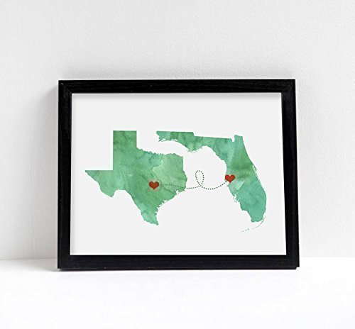 Amazon.com: Any Two States Map Art Print Wall Decor   Unframed