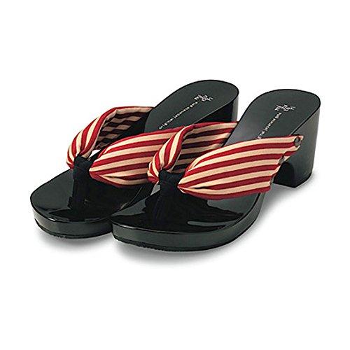 MIZUTORI Japanese Geta Style Black & Shiny Sandals with Red & White Stripes (5½)