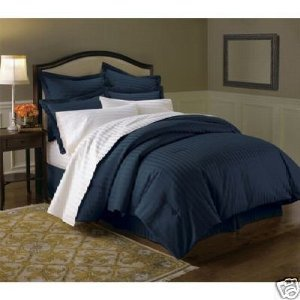 Wrinkle Free Damask Stripes Navy Full/Queen 3 PC Duvet Cover Set By Royal
