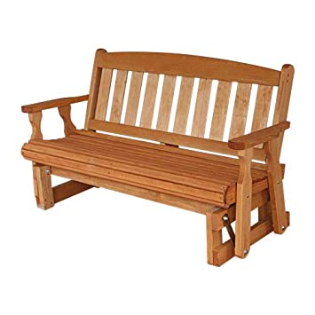 Amish Heavy Duty 800 Lb Mission Pressure Treated Porch Glider 4 Foot, Cedar Stain