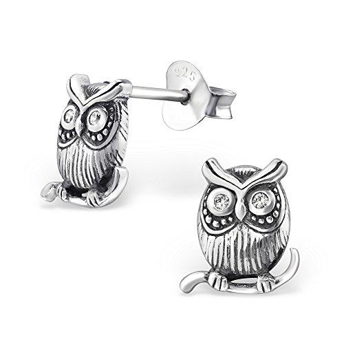 925 Sterling Silver Hypoallergenic Oxidized Owl w/ Crystal CZ Eyes Stud Earrings for Women or Girls 30797