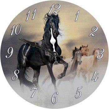 3c8bca6b2b Orologio da parete, nero, con cavallo: Amazon.it: Giardino e ...