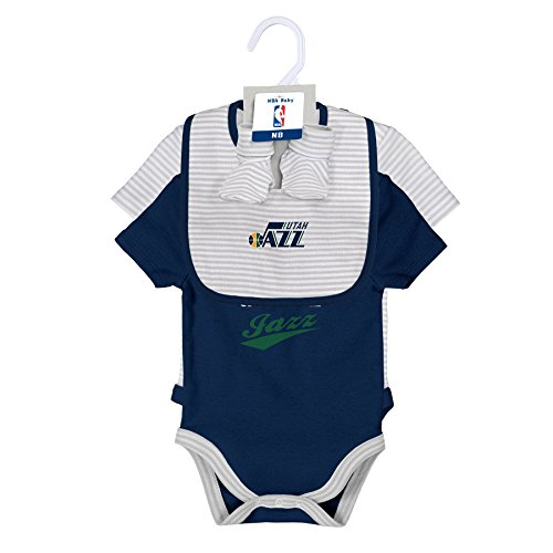 Outerstuff NBA Newborn Team Awesome 2 Piece Onesie, Bib and Bootie Set Utah Jazz-Cool Grey-3-6 (Utah Jazz Two Piece)