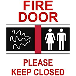 "BuildASign Fire Door Please Keep Closed (with Graphic) Safety Sign- 12"" x 9"", Decal"