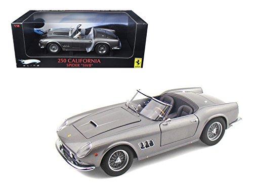 Ferrari 250 California Spider SWB Gray Elite Edition 1/18 Diecast Car Model by Hotwheels