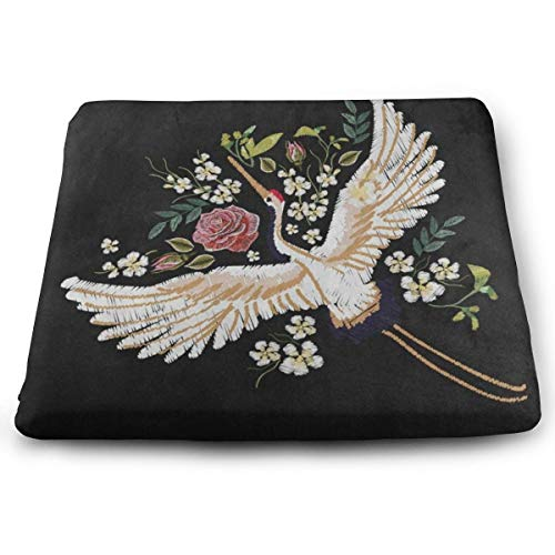 Ladninag Seat Cushion Japan Flower Crane Flying Chair Cushion Cool Offices Butt Chair Pads for Indoor