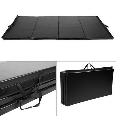 Black New 4'x8'x2''Thick Folding Panel Gymnastic Mat Gym Fitness Exercise Mat R4 by Apontus
