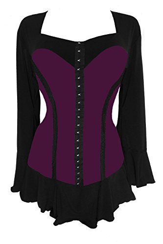 - Dare to Wear Victorian Gothic Boho Women's Plus Size Corsetta Corset Top Plum 3X