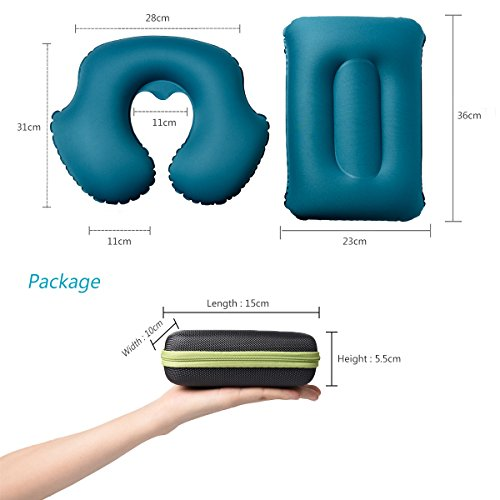 Inflatable Camping Pillow, Set of Inflatable Lumbar Support Pillow & Neck Pillow, Lightweight Compact Compressible Sleeping Air Pillow for Hiking Camping Travel Backpacking Car Seat