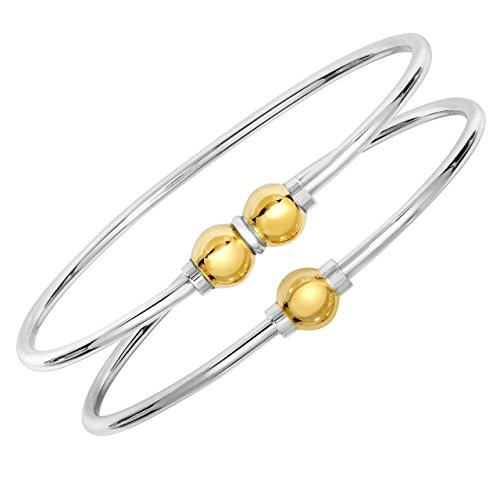 Solid 925 Sterling Silver And 14K Gold Double Ball CAPE COD BEACH Designer Cuff Bangle Bracelet.