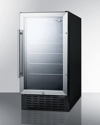 """Summit SCR1841BADA 2.7 cu.ft. 18"""" wide ADA compliant glass door refrigerator for built-in or freestanding use, with Black Cabinet"""