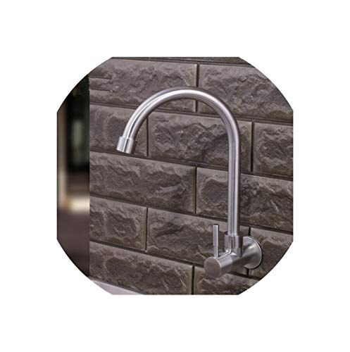Stainless Steel Faucet Total 304 Stainless Steel Single Cold No Lead Safe Hygienisim Bathroom Wall Mounted Basin Sink Faucet Tap Mixer,Yellow