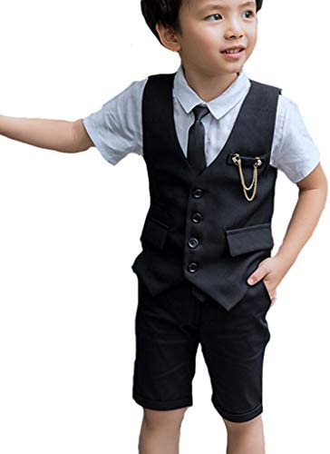 子供スーツ 男の子 フォーマル 半袖 フォーマルスーツ 4点セット 子供服 フォーマル スーツ 男の子 ベスト 上下セット ワイシャツ ハーフパンツ 半袖 おしゃれ ネクタイ付き
