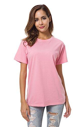 Mei teer Womens Basic Plain Short Sleeves T Shirts Summer Tee Crew Neck Loose Tops Blouse, Pink, Medium