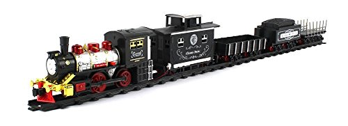 Percy Battery Powered Engine (New Frontier Express 15 Piece Battery Operated Toy Train Set w/ 5 Train Cars, 6 Curved, 4 Straight Tracks)