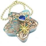 オルゴナイト 星型 アクセサリー バックチャーム & ネックレス 2way 天然石 パワーストーン (惑星(ブルー))