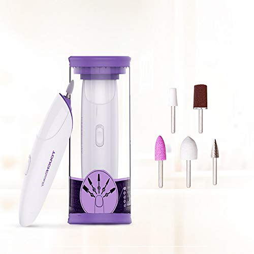 TOUCHBeauty Manicure Pedicure System Professional Nail File Drill Buffer set, Acrylic Nail Tools with LED Light, 5 Attachments Purple TB-1333 from TOUCHBeauty