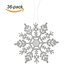 """VentoMarea Plastic Glitter Snowflake, 4"""" 36pcs Sparkling Silver Iridescent Glitter Snowflake Ornaments on String Hanger for Christmas Party Home Decorations,Crafting,Wdding and Embellishing"""