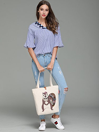 So'each Women's Floral Squirrel Printed Graphic Top Handle Canvas Tote Shoulder Bag