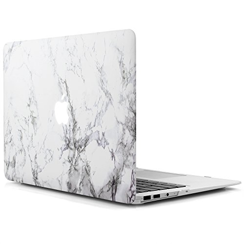 (iDOO Matte Rubber Coated Soft Touch Plastic Hard Case for MacBook Air 13 inch Model A1369 and A1466 White Marble)