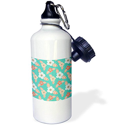 3dRose Anne Marie Baugh - Patterns - Cute Light Blue and Orange Flower and Leaves On Mint Green - 21 oz Sports Water Bottle (wb_274111_1)