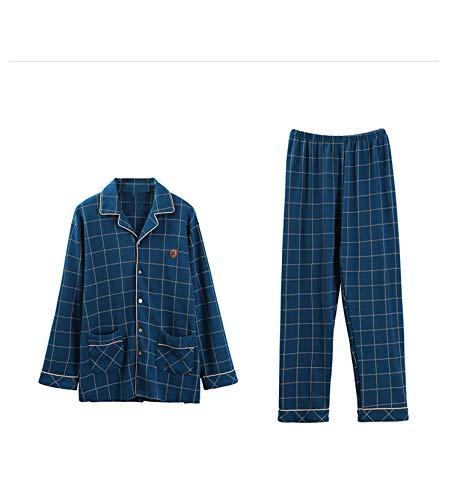 2019 New 100% Cotton Mens Sleepwear Pyjama Homme Lapel Cardigan 2 Pcs Long Sleeves Home Wear,98230 Blue,M