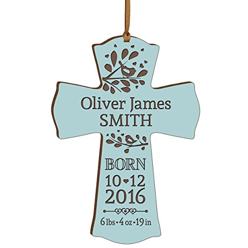 (LifeSong Milestones Personalized New Baby Birth Shower Announcement Gift Ideas for Newborn Boys and Girls Custom Engraved Wall Cross Ornament for New mom and dad and Grandparents (Blue))