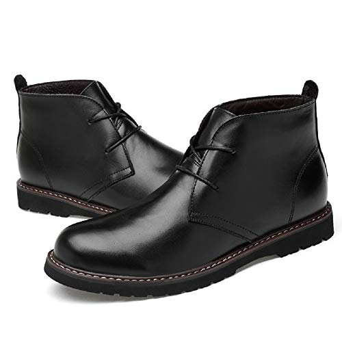 Men's Genuine Leather Business Casual Shoes Classic Chukka Boots Black