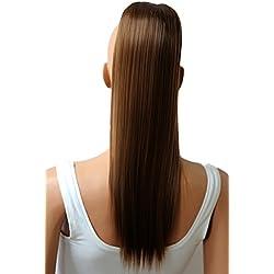"PRTTYSHOP Hair Piece Pony Tail Extension Draw String Voluminous Curly Heat-Resisting 22"" cm light brown # 12 PH506"