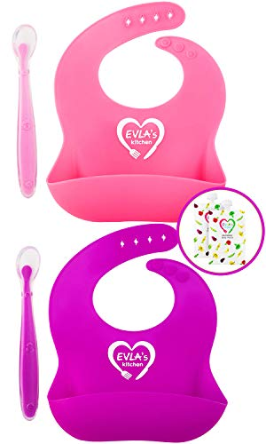 - Silicone Bibs for Babies & Toddlers | Silicone Bib Easy Clean | 100% Safe Baby Bibs Silicone | Premium Silicon Bibs Waterproof Bibs | No More Messy Mealtimes | Bonus Baby Spoon & Food Pouches Reusable
