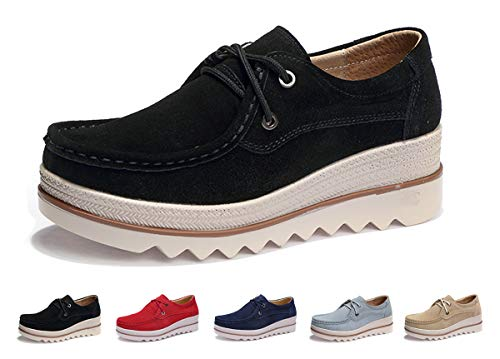 Eagsouni Women Platform Slip On Loafers Comfort Suede Casual Moccasins Low Top Mid Heel Wedge Penny Shoes