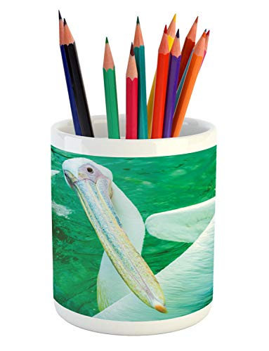 Lunarable Pelican Pencil Pen Holder, Close up Photo of Long Beaked Exotic Aquatic Bird Print, Printed Ceramic Pencil Pen Holder for Desk Office Accessory, Jade Green Pale Seafoam Pale Khaki ()