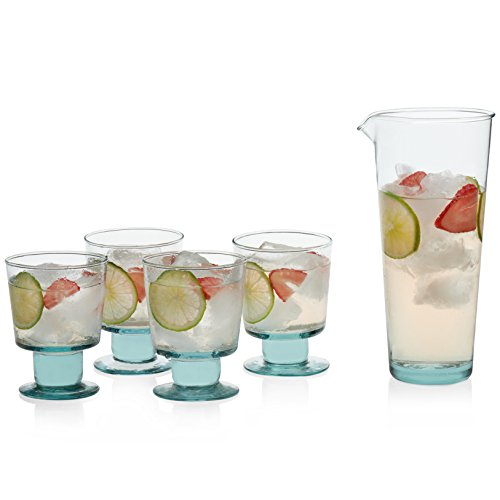 Prologue Luna Recycled Handblown Entertaining Set with 4 Stemmed Rocks Glasses and Carafe ()