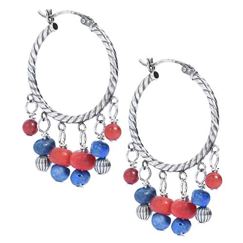 American West Sterling Silver Blue Denim Lapis and Red Coral Gemstone and Silver Beaded Chandlier Hoop Earrings