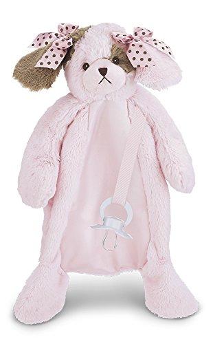Bearington Wiggles Pacifier Pet, Paci Clip & Holder, Pink Plush Puppy Dog, 15.5