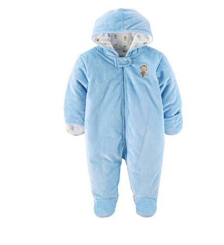 Child of Mine Carters Baby Prams, Puffers and Car Bag Snowsuits For Baby Girl and Boy (3-6 Month, Blue Monkey)