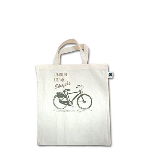 Vintage - I want to ride my bicyle - Unisize - Natural - XT500 - Fairtrade Henkeltasche / Jutebeutel mit kurzen Henkeln aus Bio-Baumwolle