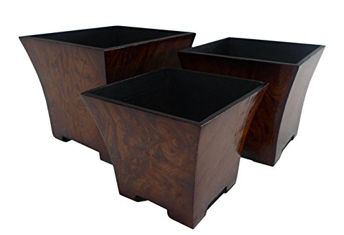 - Cheung's FP-2627-3R Burl Print Square Tapered Planter| Set of 3| Small