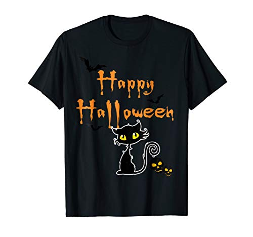 Orange Skull Shirt Black Bat Cat Spooky Happy Halloween