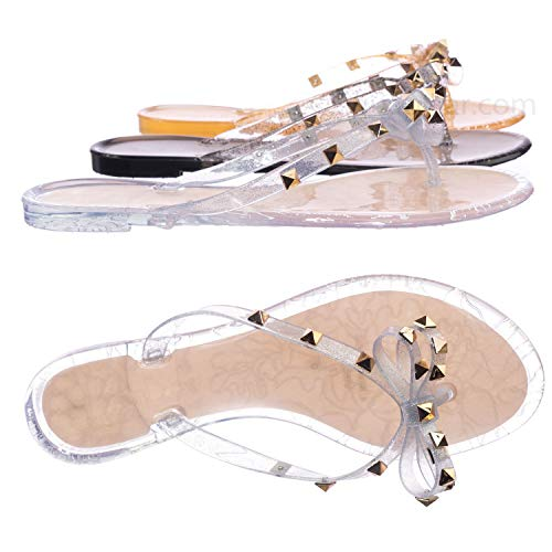 Aquapillar Rockstud Clear Lucite Jelly Slides - Women Flat Sandal Flip Flops